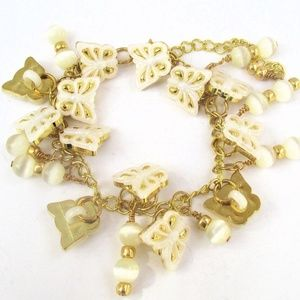 White and Gold Butterfly Button Charm Bracelet